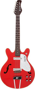Musical Instruments:Electric Guitars, Circa 1968 Coral Firefly Red Semi-Hollow Body Electric Guitar....