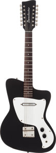Musical Instruments:Electric Guitars, Circa 1968 Danelectro Hawk 12-String Black Solid Body ElectricGuitar....
