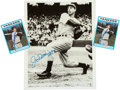 Baseball Collectibles:Others, 1980's Joe DiMaggio Signed Photograph & Cards Lot of 3. ...