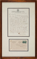 Baseball Collectibles:Others, 1945 Connie Mack Handwritten Signed Letter....
