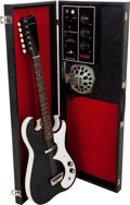 Musical Instruments:Electric Guitars, Circa 1965 Silvertone 1448 Amp-in-Case Black Solid Body Electric Guitar....
