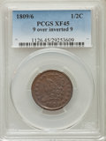 1809/6 1/2 C 9 Over Inverted 9 XF45 PCGS. PCGS Population (56/135). NGC Census: (0/0). Mintage: 1,154,572. Numismedia Ws...