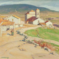 Paintings, Ernest Martin Hennings (American, 1886-1956). Spanish Town -- Cercidilla. Oil on canvasboard. 14 x 14 inches...