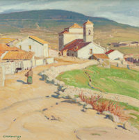 Ernest Martin Hennings (American, 1886-1956) Spanish Town -- Cercidilla Oil on