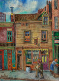 Fine Art - Painting, American:Modern  (1900 1949)  , David Burliuk (Ukrainian/American, 1882-1967). Worth Street, NewYork City, 1931 and 1953. Oil on canvas. 24 x 18 inches...