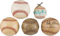 Baseball Collectibles:Balls, 1930's-60's Brooklyn Dodgers, Pittsburgh Pirates, Pie Traynor, Whitey Ford & Others Signed Mini Baseballs Lot of 5....