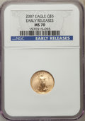 Modern Bullion Coins, 2007 $5 Tenth-Ounce Gold Eagle, Early Releases, MS70 NGC. NGC Census: (0). PCGS Population (89)....