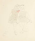 Fine Art - Work on Paper:Drawing, Andy Warhol (American, 1928-1987). Two Girls, Full Figure,circa 1957. Ink and aniline dye on paper. 12-3/4 x 11-1/2 inc...