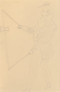 Fine Art - Work on Paper:Drawing, Andy Warhol (American, 1928-1987). Man with Toy, circa 1955.Ink on paper. 17 x 14 inches (43.2 x 35.6 cm) (sheet). Stam...