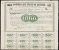 Confederate Notes:Group Lots, Ball 9 Cr. 8 $1000 1861 Bond. . ...