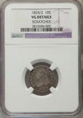 Bust Dimes, 1824/2 10C -- Scratches -- NGC Details. VG. NGC Census: (0/50).PCGS Population (44/121). Mintage: 100,000. Numismedia Wsl....