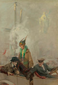 Mainstream Illustration, Charles Edward Chambers (American, 1883-1941). Couple withChauffeur, possible magazine interior story illustration.Oil...