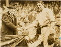 Baseball Collectibles:Photos, 1923 Babe Ruth at Opening Day of Yankee Stadium Original NewsPhotograph, PSA/DNA Type 1. ...