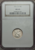 Barber Dimes: , 1911-D 10C MS65 NGC. NGC Census: (38/26). PCGS Population (56/47).Mintage: 11,209,000. Numismedia Wsl. Price for problem f...