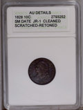 Bust Dimes: , 1828 10C Small Date --Cleaned, Retoned, Scratched--ANACS. AUDetails. JR-1. NGC Census: (0/25). PCGS Population (3/40).Mint...