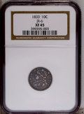 Bust Dimes: , 1833 10C XF45 NGC. JR-6. NGC Census: (3/195). PCGS Population(23/158).Mintage: 485,000. Numismedia Wsl. Price: $201. (#452...
