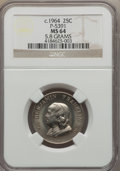 (circa 1964) DuPont Quarter Pattern, Pollock-5391, MS64 NGC. Greenslet-285. 5.8 gm. Nickel alloy clad with copper core...