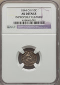 Seated Half Dimes: , 1844-O H10C -- Improperly Cleaned -- NGC Details. AU. NGC Census: (2/14). PCGS Population (7/19). Mintage: 220,000. Numisme...