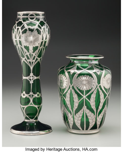 Two Austrian Green Glass Vases With Silver Overlay Circa Lot