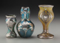 Art Glass:Loetz, Three Austrian Iridescent Glass Vases with La Pierre SilverOverlay. Circa 1900. Silver stamped L, STERLING. Ht. 6-1/4i... (Total: 3 Items)
