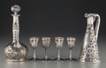 Art Glass:Other , Alvin-Beiderhase Co. Glass and Silver Overlay Cordial Set . Carafemonogrammed EWP, lidded decanter, 4 glasses. Circa 19...(Total: 6 Items)