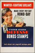 "Movie Posters:War, World War II Propaganda (U.S. Government Printing Office, 1942).War Bond Poster (40"" X 59.5"") ""Wanted - Fighting Dollars."" ..."