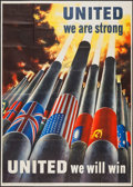 "Movie Posters:War, World War II Propaganda (U.S. Government Printing Office, 1943).Poster (39.75"" X 54.75"") ""United We Are Strong."" War.. ..."