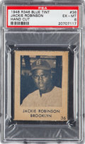 Baseball Cards:Singles (1940-1949), 1948 R346 Blue Tint Jackie Robinson #36 PSA EX-MT 6 - Pop Two, OneHigher. ...