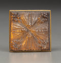 Art Glass:Lalique, R. Lalique Frosted Glass and Brass Quatre Papillons de NuitHat Pin with Gray Patina. Circa 1912. Stamped LALIQU...