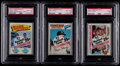 Baseball Cards:Unopened Packs/Display Boxes, 1977 Topps Baseball PSA Graded Unopened Cello Pack Collection(3)....