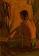 Joseph Henry Sharp (American, 1859-1953) Working by Firelight Oil on canvas laid on board 13-5/8 x 9-5/8 inches (34.6