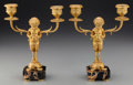 Decorative Arts, French:Lamps & Lighting, A Small Pair of Napoleon III Gilt Bronze and Marble Two-Light Candelabras: Satyr & Turtle, circa 1860. 8-1/8 inc... (Total: 2 Items)