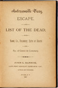 Books:Americana & American History, John L. Ransom. Andersonville Diary, Escape and List of the Dead, with Name, Co., Regiment, Date of Death and No. of Gra...