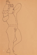 Fine Art - Work on Paper:Drawing, Andy Warhol (American, 1928-1987). Standing Male Figure,circa 1955. Ink on paper. 11-7/8 x 7-7/8 inches (30.2 x 20.0 cm...