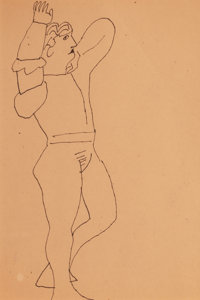 Andy Warhol (American, 1928-1987) Standing Male Figure, circa 1955 Ink on paper 11-7/8 x 7-7/8 in