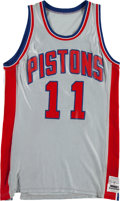 Basketball Collectibles:Uniforms, 1982-83 Isiah Thomas Game Worn Detroit Pistons Uniform - RareSilver Style. ...