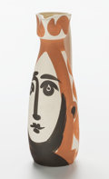 Prints, Pablo Picasso (Spanish, 1881-1973). Face, 1955. Partially glazed earthenware pitcher. 12 inches (30.5 cm) high. Ed. 500...