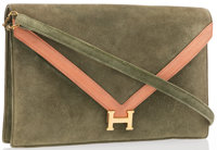 Hermes Vert Olive Veau Doblis Suede Lydie Bag with Gold Hardware & Shoulder Strap Good Condition