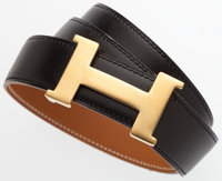 """Hermes 65cm Black Calf Box Leather H Belt with Gold Hardware Good to Very Good Condition 31"""" Leng"""
