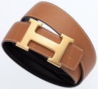 Hermes 75cm Black Calf Box & Vache Naturelle Leather Reversible H Belt with Gold Hardware Very Good Condition&lt...