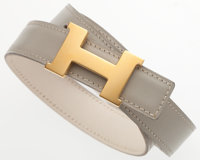Hermes 65cm Gris Perle Calf Box & White Evergrain Leather Reversible H Belt with Gold Hardware Very Good to Exc