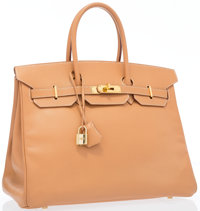"Hermes 35cm Natural Courchevel Leather Birkin Bag with Gold Hardware Very Good Condition 14"" Widt"