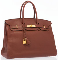 "Hermes 35cm Sienne Togo Birkin Bag with Gold Hardware Very Good Condition 14"" Width x 10"" Height"
