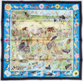 "Luxury Accessories:Accessories, Hermes 90cm Blue & Navy Blue ""La Vie Sauvage du Texas,"" byKermit Oliver Silk Scarf. Pristine Condition. 36"" Width x3..."