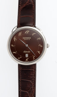 Hermes Stainless Steel Arceau TGM Watch with Havane Porosus Crocodile Strap Very Good Condition 1