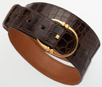 "Hermes 90cm Havane Porosus Crocodile Oval Belt with Gold Hardware Good Condition 37"" Width x 1"" L"