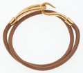 "Luxury Accessories:Accessories, Hermes Natural Bridle Leather Jumbo Double Tour Bracelet with GoldHardware. Very Good Condition. 15"" Length. ..."