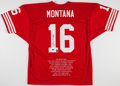 Football Collectibles:Uniforms, Joe Montana Signed San Francisco 49ers Jersey - Steiner....