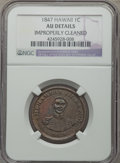 Coins of Hawaii: , 1847 1C Hawaii Cent -- Improperly Cleaned -- NGC Details. AU. NGCCensus: (10/257). PCGS Population (32/329). Mintage: 100,...