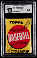 Baseball Cards:Unopened Packs/Display Boxes, 1963 Topps Baseball 2nd/3rd Series 5-cent Wax Pack GAI NM-MT+8.5....